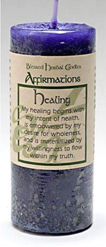 """4"""" Coventry Creations Purple HEALING Blessed Herbal PILLAR Spell CANDLE Wicca"""