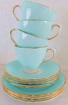 blue and gold edged tea