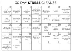 30 Day Stress Away Challenge 30 Day Stress Cleanse Happiness Challenge, Love Challenge, Squat Challenge, Health Challenge, Thigh Challenge, Productivity Challenge, Happiness Project, Challenges To Do, Fitness Challenges