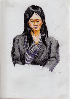 『白黒ストライプ柄のワンピースのお姉さん(通勤電車でスケッチ) This is a woman of sketch wearing a black cardigan. It drew in a commuter train.』