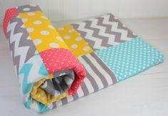 Baby Girl Blanket, Fleece Blanket, Coral Crib Bedding, Nursery Decor, Baby Shower Gift, Coral Pink, Yellow, Aqua Blue and Gray Grey Chevron