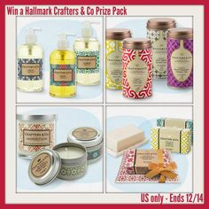 Hallmark Crafters & Co Prize Pack Giveaway US Only. If you need some gift ideas this holiday season or for any occasion think about Crafters & Co, they have bar soaps, liquid soaps, candles and oh so many wonderful products!