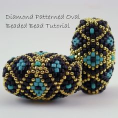 Peyote Beaded Bead Tutorial - pdf pattern with photos and instructions. Beaded Beads, Beaded Jewelry, Beaded Necklace, Beaded Bracelets, Jewellery, Gold Jewelry, Beading Projects, Beading Tutorials, Beading Patterns
