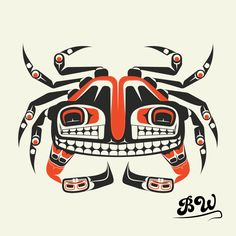 The Crab Formline. This is a crab  drawn in the pacific coastal native art form known as formline.