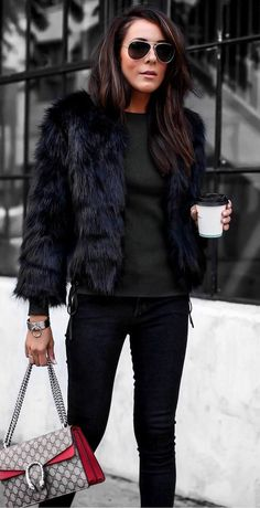 how to style a fur jacket : sweater   bag   skinny jeans