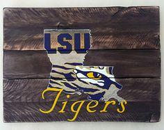 LSU Tiger Eye wood sign, reclaimed wood, Original Design, Louisiana State, wall art, wood sign, pallet sign, pallet art