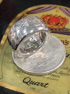 Handcrafted Morgan dollar coin ring silver, antiqued or polished finish Diy Jewelry Rings, Spoon Jewelry, Diy Rings, Jewelry Making, Unusual Rings, How To Make Rings, Engagement Rings For Men, Coin Ring, Diamond Bands