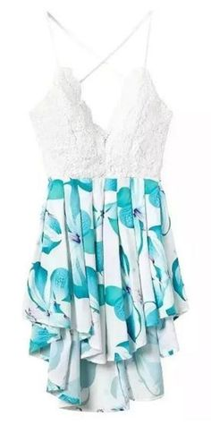 Love this Fabric Color! Aqua Blue and White Lace Floral Print Spliced Spaghetti Strap Romper Playsuit #Aqua #Blue #White #Lace #Floral #Playsuit #Romper #Beach #Fashion
