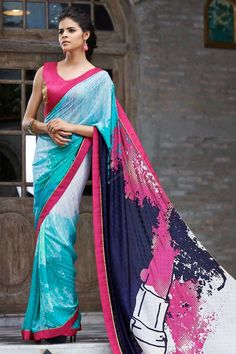 Sky blue, pink georgette saree with gold and pink bhagalpuri blouse. Embellished with stone. Saree comes with v neck blouse. It is perfect for casual wear, festival wear, party wear and wedding wear. Designer print with stone work and lace border Andaaz Fashion is the most popular designer wear online ethnic shop brands. http://www.andaazfashion.us/womens/sarees/occasion/festival-wear-saree