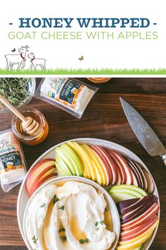Celebrate summer with this recipe for Honey Whipped Goat Cheese with Apples. Honey Recipes, Gourmet Recipes, Cooking Recipes, Great Appetizers, Appetizer Recipes, Wedding Appetizers, Cheese Appetizers, Snack Recipes, Dinner Recipes