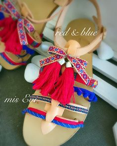 Red & blue!!!!! Handmade leather sandals Ladies Sandals, Greek Sandals, Handmade Leather, Leather Sandals, Red And Blue, Fashion Beauty, Lady, Style, Ribbons