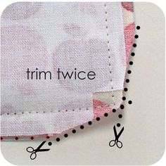 Sewing Hacks   Best Tips and Tricks for Sewing Patterns, Projects, Machines, Hand Sewn Items. Clever Ideas for Beginners and Even Experts     Trim Edges Of Your Corner Seams Before Turning Inside Out     http://diyjoy.com/sewing-hacks