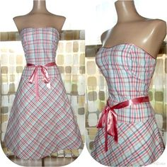 Retro 50s Pin-Up PLAID Sweetheart Strapless Party Dress 7 Sexy & Full ROCKABILLY