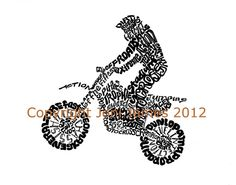 <b>Motocross</b> Dirt Bike Art Typography Calligram Illustration, Dirt Track . Bike Birthday Parties, Dirt Bike Birthday, Art Education Lessons, Bike Tattoos, Bike Illustration, Recumbent Bike Workout, Dirt Bike Girl, Mountain Bike Trails, Bike Design