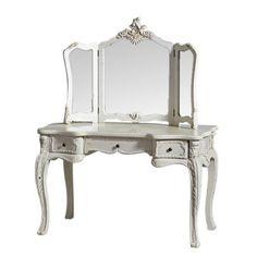 Home Kandi Amelia Cream Large French Rococo Dressing Table & Mirror