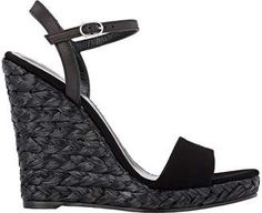 Barneys New York Fania Wedge Sandals - 10 Black Platform Sandals, Black Wedge Sandals, Black Leather Sandals, Heeled Sandals, Shoes Sandals, Women Sandals, Suede Leather, Ankle Strap Wedges, York