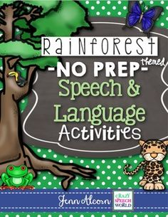 This Rainforest No Prep Packet is a great therapy tool on the go! It is filled with activities to target various expressive and receptive language skills, and articulation! These activities can be used in small group intervention, centers, or for homeworkand it's all in black and white, so you can just PRINT and GO!*****************************************************************************Here is what is included in this Rainforest Packet:-Story Map (Characters, Setting, Problem, Solution)... Speech Language Therapy, Speech Therapy Activities, Language Activities, Speech And Language, Rainforest Activities, Rainforest Theme, Therapy Tools, Therapy Ideas, Receptive Language
