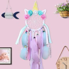 OurWarm Home Decoration Unicorn Dream Catcher Girl Bedroom Wall Accessory Handmade Baby Shower Wedding Party Favor Supplies Gift Dream Catcher Bedroom, Dream Catcher Boho, Dream Catchers, Dream Catcher For Kids, Girl Bedroom Walls, Nursery Room, Unicorn Jewelry, Hanging Flower Wall, Wall Accessories