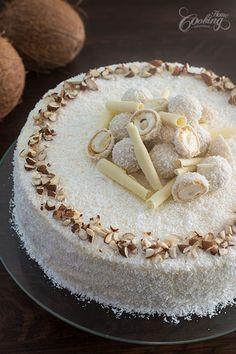 Almond Coconut Cake (Raffaello cake) Almond Coconut Cake (Raffaello cake) :: Home Cooking Adventure Almond Coconut Cake, Almond Cakes, Coconut Cakes, White Chocolate Frosting, Cake Recipes, Dessert Recipes, Savoury Cake, Let Them Eat Cake, Cupcake Cakes