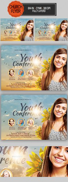 Youth Conference Church Flyer 6x4 with 25. bleed, CMYK, 300 DPI Files included: 1 PSD ,Help File Model not included Fonts Used: Kaushan Script https://www.fontsquirrel.com/fonts/kaushan-script Trajan Pro https://www.fonts.com/font/adobe/trajan