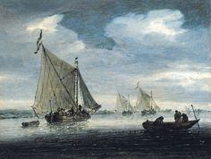 9a35e3fddc59 Salomon van Ruysdael   An estuary scene with a kaag close-hauled in a light  breeze (Private collection) サロモン・ファン・ロイスダール