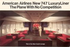 American Airlines 747 Luxury Liner Lounge in Coach. Coach?!?! (Image: American Airlines)