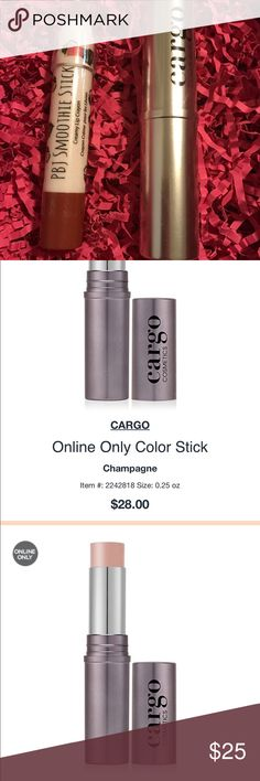 """Cargo cosmetics lip, eye, cheek stick Champagne Cargo: An oil-free, cream color stick that blends effortlessly to eyes, cheeks and lips, for a natural, monochromatic look. The velvety, ultra-light texture blends flawlessly onto the skin for an """"airbrushed"""" finish. Cheeks appear smooth and flawless. The cream-to-powder formula sets for an exceptionally longwearing finish and never settles into fine lines. PBJ Smoothie: smells tasty and sounds healthy, it also gives lips a vibrant tint. The…"""