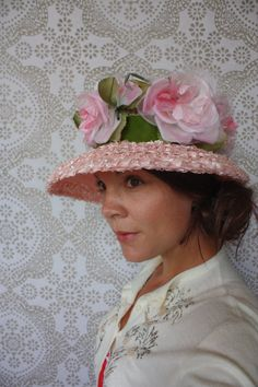 Women's Vintage 1950's 60's Wide Brim Oversized Hat with Flowers by pursuingandie, $52.00