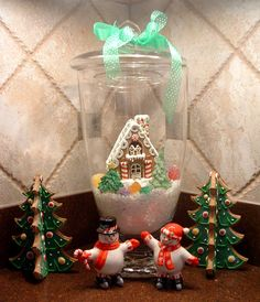 Displaying an ornament in Jar with Snow and ribbon!