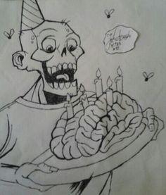 Urodzinowy zombiak. Jak na razie bez kolorów.