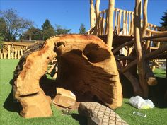 Oak log tunnel installed in one of our natural play areas. Playground, primary school. copperbeechplay.co.uk Copper Beech, Oak Logs, Natural Play, Play Areas, Forest School, Primary School, School Projects, Playground, Nature