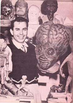 Bud Westmore and the Metaluna Mutant from This Island Earth.