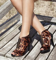 high heels - ankle boots - animal print - black - party shoes - Inverno 2015 - Ref. 15-3406