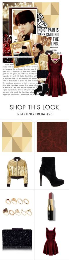 """""""Gold and Red...perfect combination"""" by glitterlovergurl ❤ liked on Polyvore featuring Love Quotes Scarves, Cole & Son, Andrew Martin, DKNY, Sam Edelman, ASOS, Bobbi Brown Cosmetics and Fortuni"""