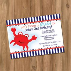 Crab Birthday Party Invitation Digital  DIY by DigiPrintz on Etsy, $10.00