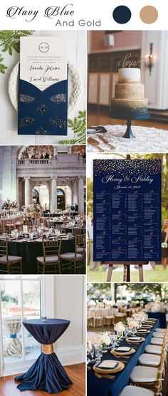 navy blue and gold wedding color combo ideas with wedding invitation