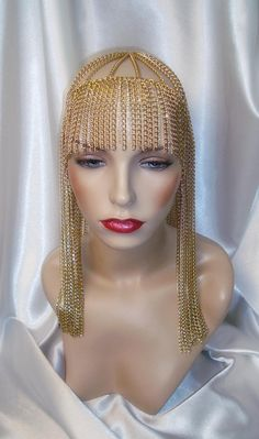 Gold Chain and Rhinestone Headpiece, Cleopatra Headpiece, Rhinestone Headpiece, Egyptian Inspired Headpiece Head Jewelry, Jewelry Art, Women Jewelry, Ladies Jewelry, Cleopatra, Princess Girl, Disney Beauty And The Beast, Afro Punk, Egypt
