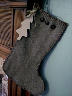 Felted Christmas Stocking Made From Vintage Wool Sweaters - AngelinaElizabeth