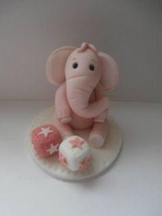 Edible elephantchristeningbirthdaycake topper sugarpaste