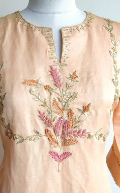 Gota Patti and anchor handwork embroidery on the front Three-quarter sleeves Round Neckline with slit Embroidery On Kurtis, Kurti Embroidery Design, Embroidery Neck Designs, Hand Embroidery Flowers, Hand Work Embroidery, Embroidery Fashion, Zardosi Embroidery, Indian Embroidery, Chudidhar Neck Designs