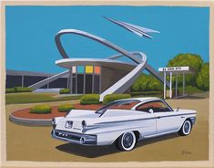 Mid Century Modern Eames Retro Limited Edition Print from Original Painting Architecture Dodge Matador Mid Century Modern Art, Mid Century Art, Mid Century Design, Mid Century Style, Eames, Look Retro, Retro Style, Car Illustration, Guache