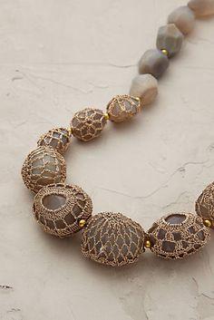 Crochet jewelry 322077810851585308 - Cassia Crochet Necklace Source by Beaded Jewelry Patterns, Textile Jewelry, Fabric Jewelry, Bracelet Patterns, Crochet Stone, Wire Crochet, Diy Necklace, Crochet Necklace, Rock Necklace