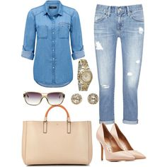 Jean on Jean #edge #class by lucyandpearl on Polyvore featuring Forever New, AG Adriano Goldschmied, Salvatore Ferragamo, Anya Hindmarch, Relic, EF Collection and Chanel