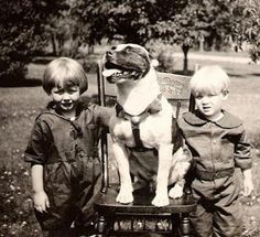 You have to wonder how much trouble this handsome trio got into together! Every happy childhood seems includes a favorite dog, and hopefully a dog photo or two to help share those good memories with the grandkids.