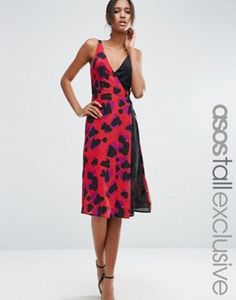 018ac8c842 ASOS TALL Leopard Print Mix Wrap Midi Dress Maxi Robes