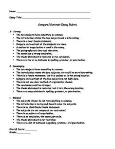 compare and contrast rubric learning in action  compare contrast essay rubric