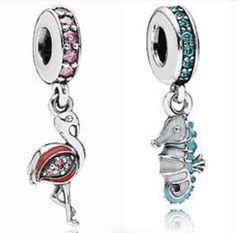 La collezione Pandora charms estate 2014, i nuovi coloratissimi arrivi Pandora cavalluccio marino fenicottero