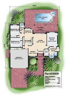Easy Living - 66140GW | 1st Floor Master Suite, CAD Available, Florida, Mediterranean, PDF, Split Bedrooms | Architectural Designs