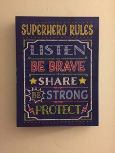 Superhero Nursery - Superhero Rules Sign