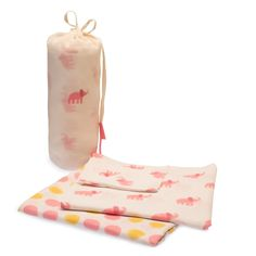 Naaya by Moonlight Muslin Baby Swaddle Blankets in Pink Elephant